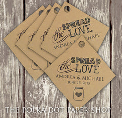 Pack of 50 Spread the Love Customized Jam Wedding Favor Tags on Kraft Cardstock 0401
