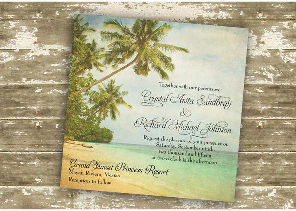 Vintage Rustic Beach Destination Wedding or Party Invitation 0308
