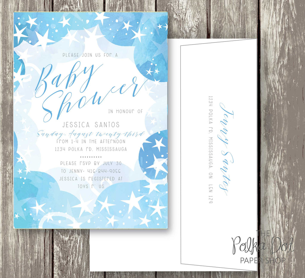 Starry Starry Night Baby Shower Invitation - 3 colours to choose ...