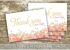 Pack of 10 Customized Champagne Bubbly Thank You Cards 0337
