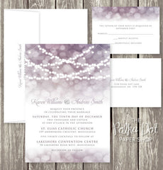 Beautiful String Lights Winter Wedding or Barn Wedding Printed Invitation Suite 0201