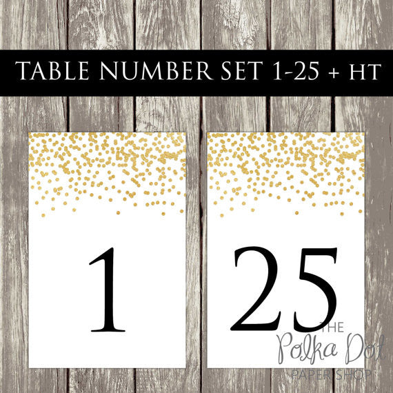 DIY Instant Download & Print - Falling Glitter Black and Gold Wedding Table Number Set Tables 1-25   0501