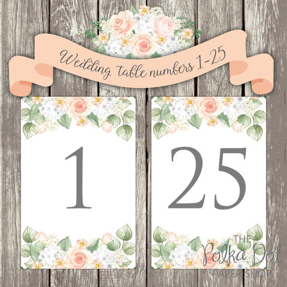 DIY Instant Download & Print Peachy Roses - WatercDIY Instant Download Falling Glitter Black and Gold Wedding Table Number Set Tables 1-25 / Print at home / Wedding Printablesolour Wedding Table Number Set Tables 1-25   0503