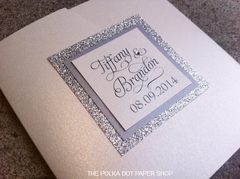 Glitter Pocketfold Wedding Invitation #0115