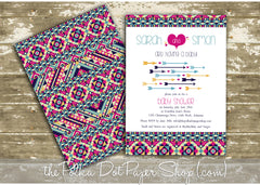 Baby Shower Invitation with Aztec/Tribal inspired print, hearts and cupid's arrows. Double Sided. 0414