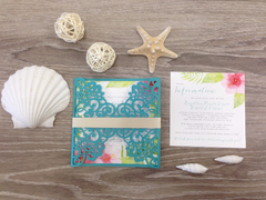 Turquoise Laser Cut Destination Wedding Invitation with Gold Belly Band and Pink Watercolor Hibiscus Flowers 0108