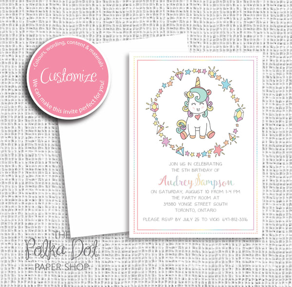 Unicorn Rainbow Child Birthday Party Invitation 549071 The Polka Dot Paper Shop