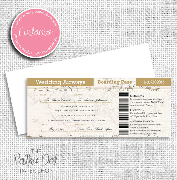 Boarding Pass Destination Wedding Invitation 0442