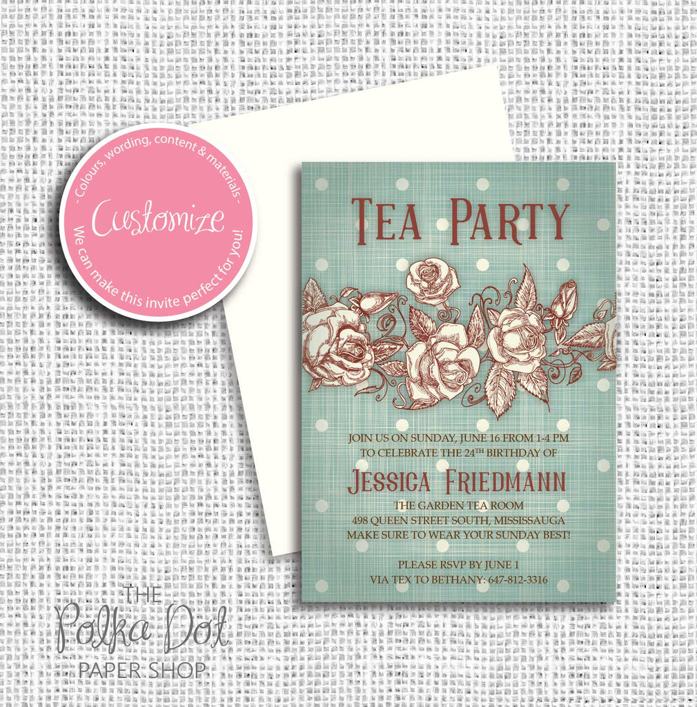 Vintage Roses Tea Party Adult Birthday Party Invitation 54803 – The Polka Dot Paper Shop
