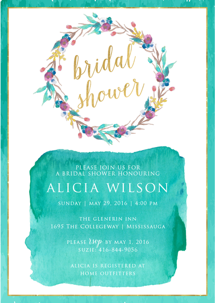Watercolour Turquoise Flower Bridal Shower Invitation  0252