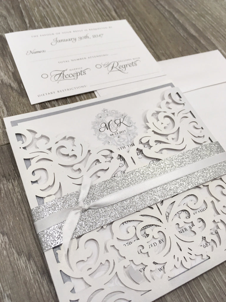 Elegant Monogram Glitter Laser Cut Pocket Wedding Invitation 1658 ...