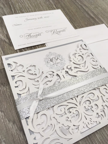 Elegant Monogram Glitter Laser Cut Pocket Wedding Invitation 1658
