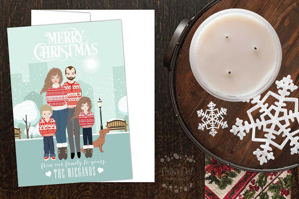 Pack of 25 OR Print Your Own Family Christmas Portrait Greetings - Card # 44576