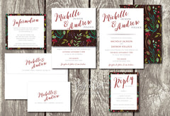 NEW 2018 - Wildberry Bouquet Floral Belly Band Printed Wedding Invitation 10244
