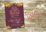 Floral Chic Save the Date Card  - 6 Colour Combos Available! 0321