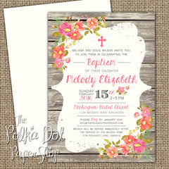 Woodgrain Shabby Chic Baptism, Baby Shower, Christening or First Birthday Invitation 0419