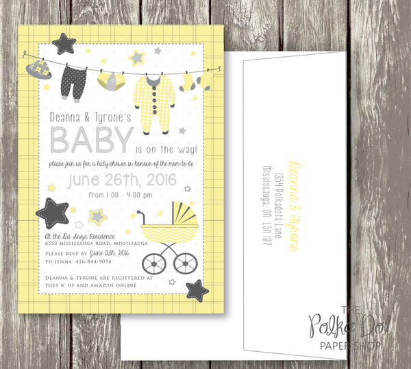 Clothesline Cute Baby Shower Invitations - pink, purple, turquoise and yellow available 0410