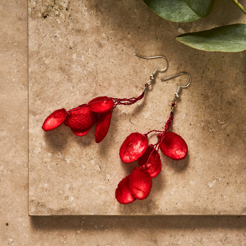 Fuscia Pink Silk Cocoon Earrings - The Colombia Collective