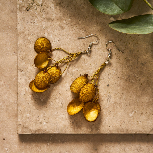 Silk Cocoon Earrings - The Colombia Collective