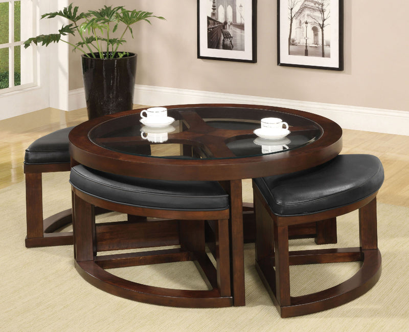 Crystal Cove II Dark Walnut Round Coffee Table w/ 4 Stools image