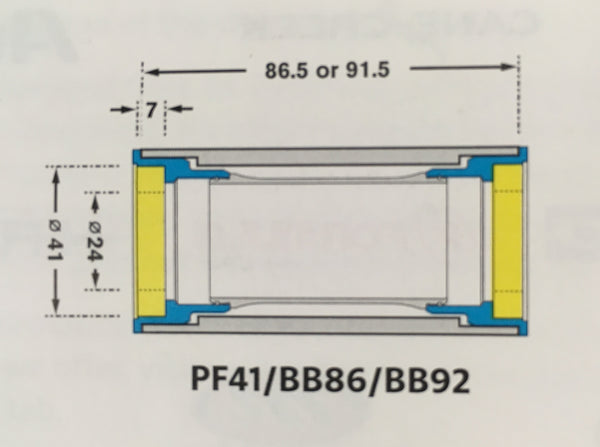 PF41/BB86/BB92 bottom bracket shell drawing
