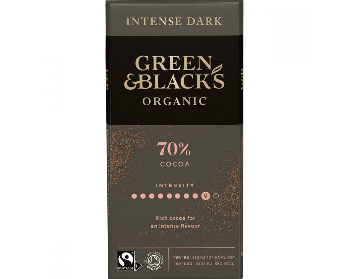 Green and Blacks 70% Cocoa Dark Chocolate 90g