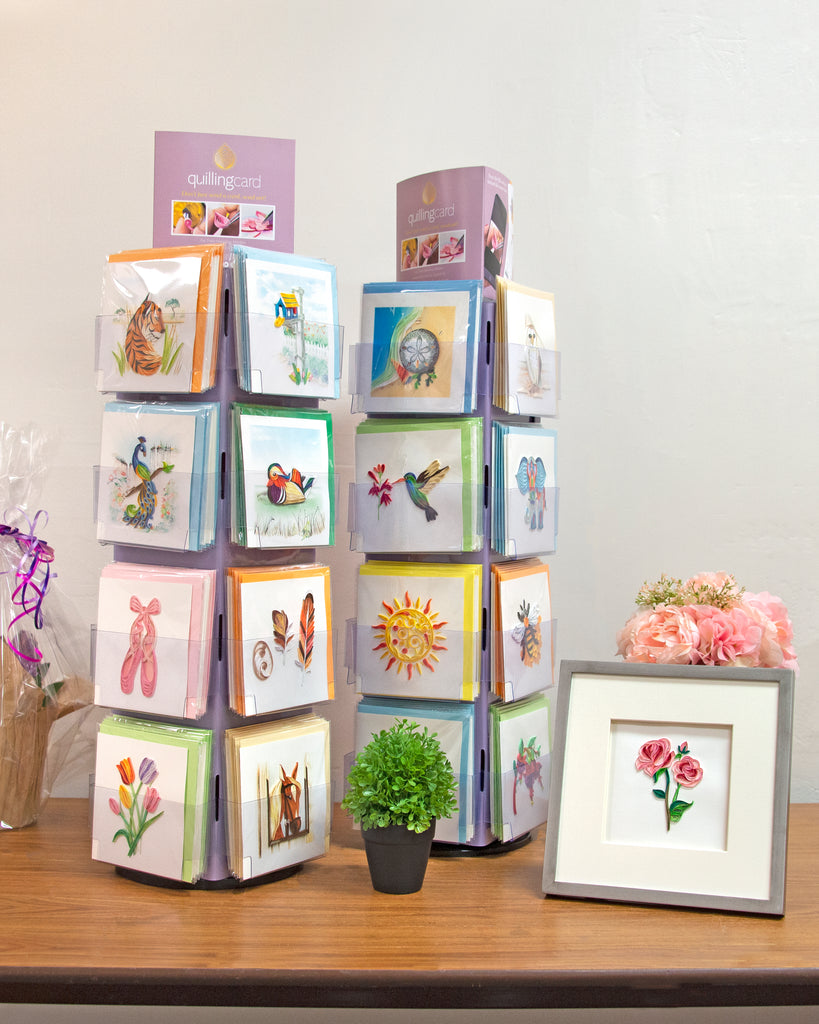 Quilling Card display with greenery