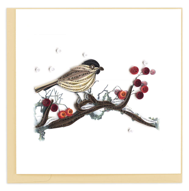Quilled Bird & Berries Greeting Card 1