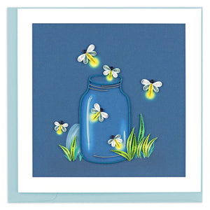 Quilled Fireflies Greeting Card