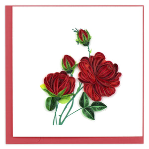 Quilled Red Roses Greeting Card