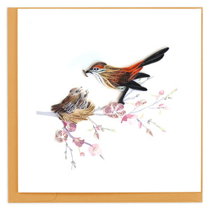 Quilled Mother Bird Feeding Babies Greeting Card