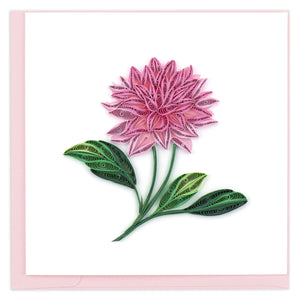 Quilled Pink Dahlia Greeting Card