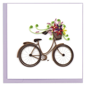 Quilled Bicycle with Flower Basket Greeting Card