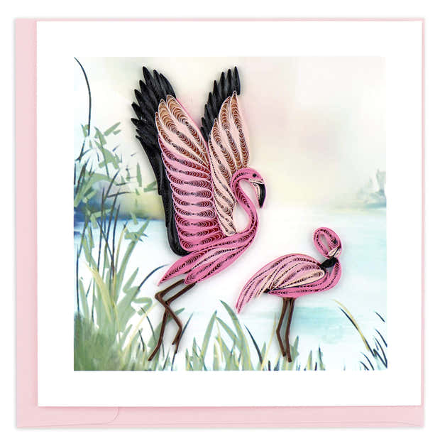 Quilled Flamingos Greeting Card 1