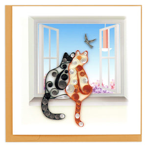 Quilled Two Cats Greeting Card