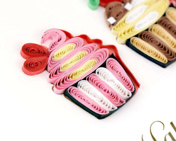 Quilled Birthday Cupcakes Greeting Card 1