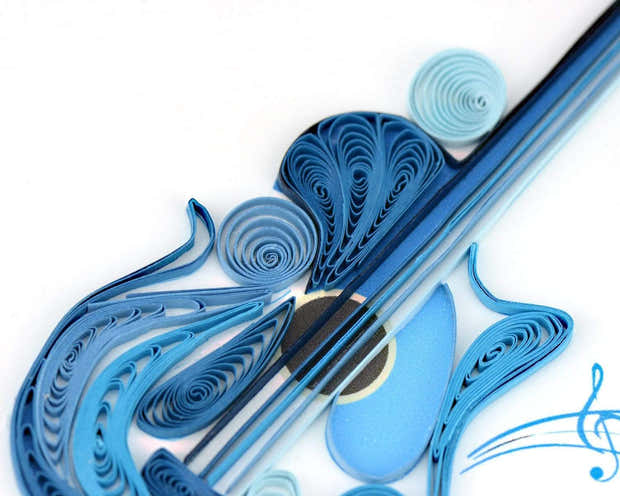 Quilled Birthday Guitar Greeting Card 1