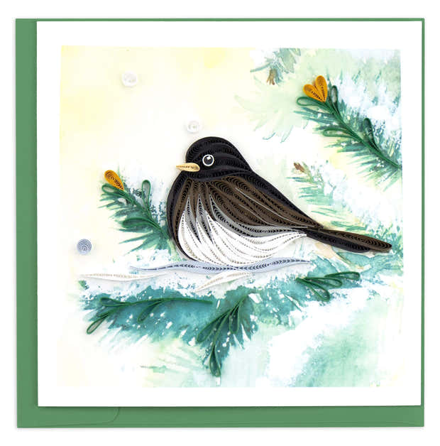 Quilled Dark-eyed Junco Greeting Card 1