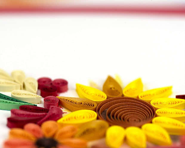 Quilled Floral Cornucopia Greeting Card 1