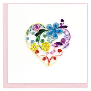 Quilled Floral Rainbow Heart Greeting Card