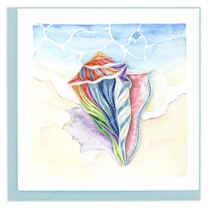 Quilled Rainbow Conch Shell Greeting Card