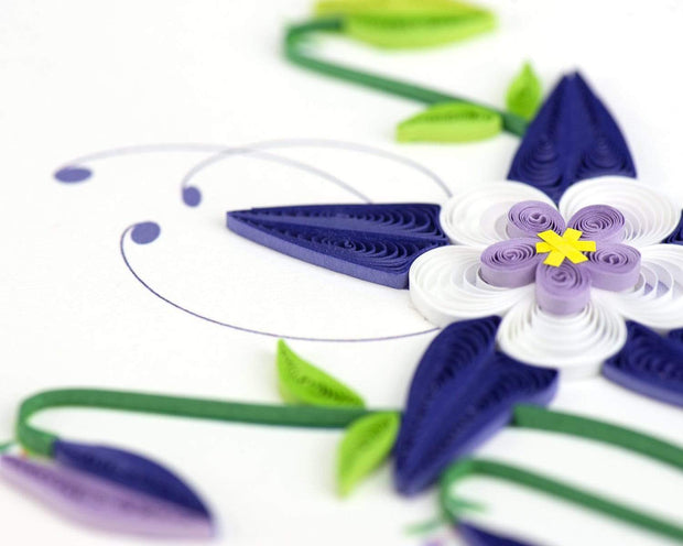 Quilled Rocky Mountain Columbine Greeting Card 1