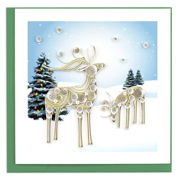 Quilled Snowy Reindeer Holiday Card 1