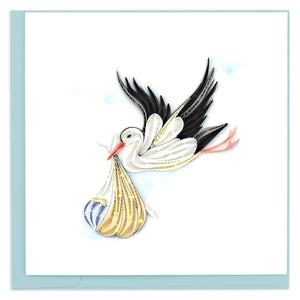 Quilled Special Delivery Stork Greeting Card
