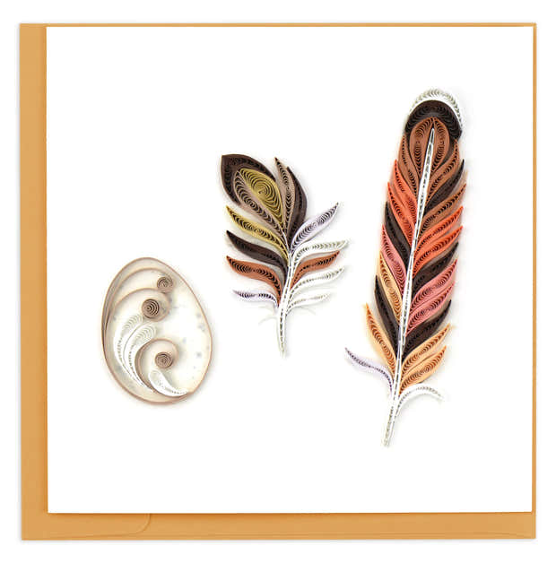 Quilled Story of a Feather Greeting Card 1