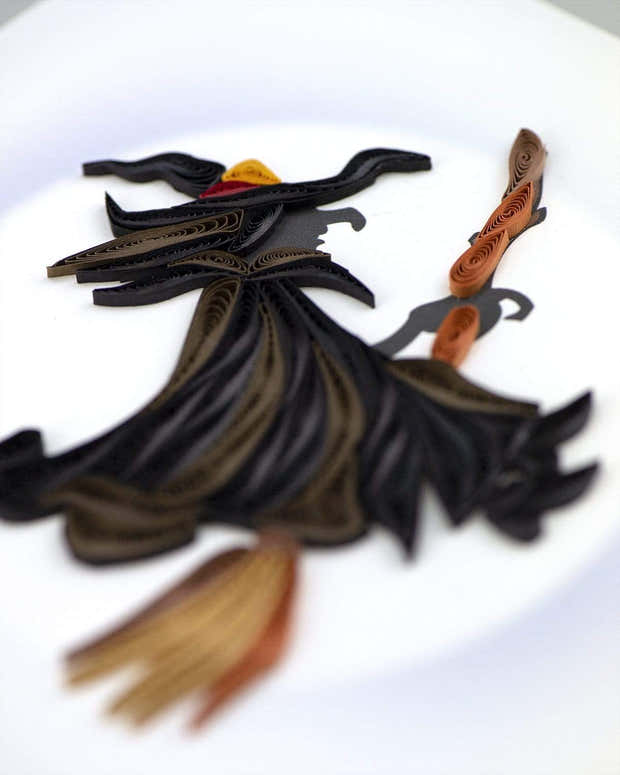 Quilled Witch Halloween Card 1