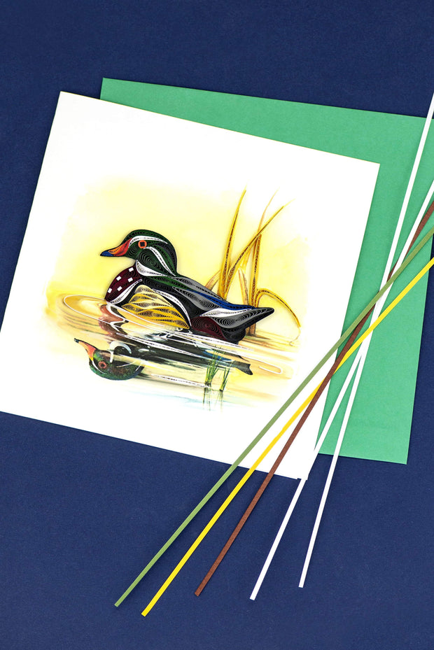 Quilled Wood Duck Greeting Card 1