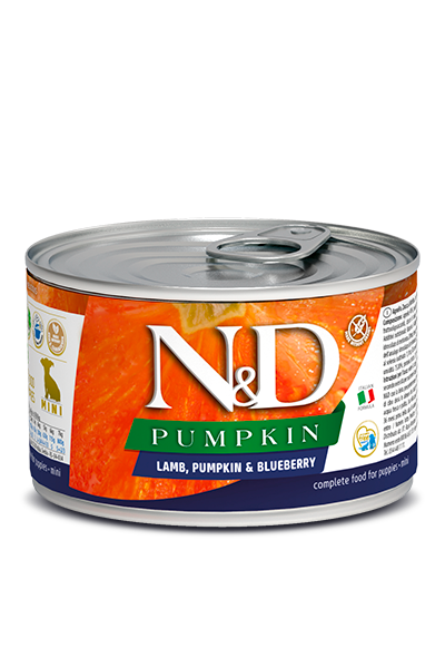 N&D DOG LAMB & PUMPKIN & BLUEBERRY PUPPY MINI 140GRX18