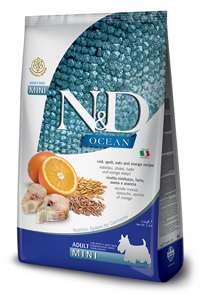 N&D OCEAN DOG MERLUZZO, FARRO, AVENA E ARANCIA ADULT MINI gr.800X4