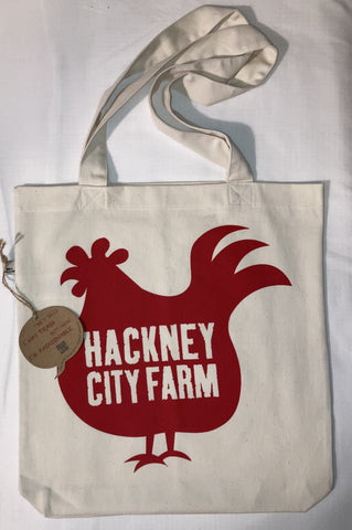 Hackney City Farm Tote Bag with red chicken logo